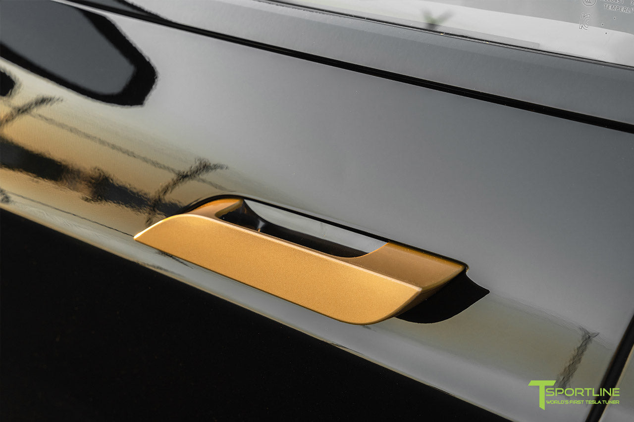 Black Tesla Model S Performance with Metallic Gold Chrome Delete by T Sportline