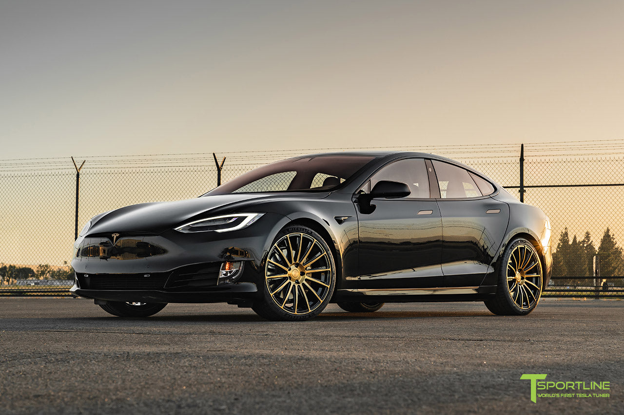 Black Tesla Model S Performance with Metallic Gold Brake Calipers and 21 inch TS114 Forged Wheels in Ghost Gold and Gloss Black by T Sportline