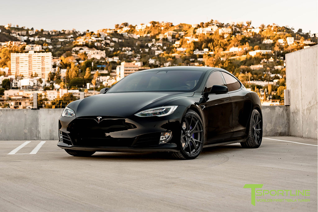 Black Tesla Model S P100D with TS115 Forged Wheels Matte Black
