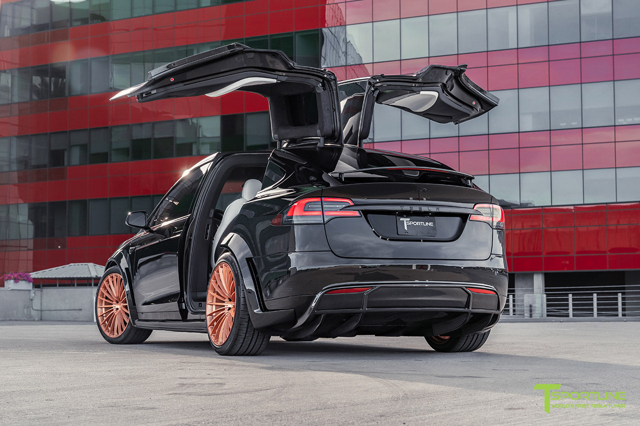 Black Tesla Model X T Largo Wide Body Package with Ghost Gold 22 Inch TS120 Forged Wheels by T Sportline