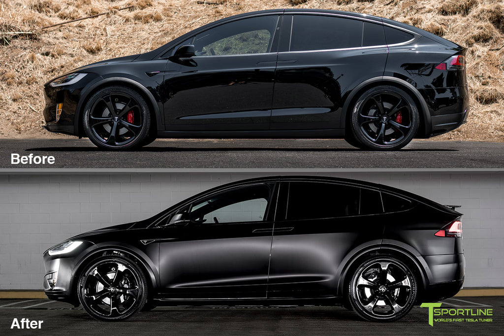 Xpel Clear Satin Bra Wrap on Black Tesla Model X with Black 22 inch Forged Wheels