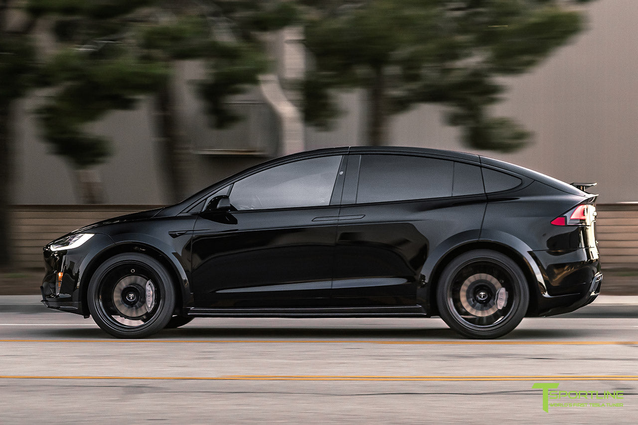 Black Tesla Model X T Largo Carbon Fiber Wide Body Package with Gloss Black 22 inch TS120 Forged Wheels by T Sportline