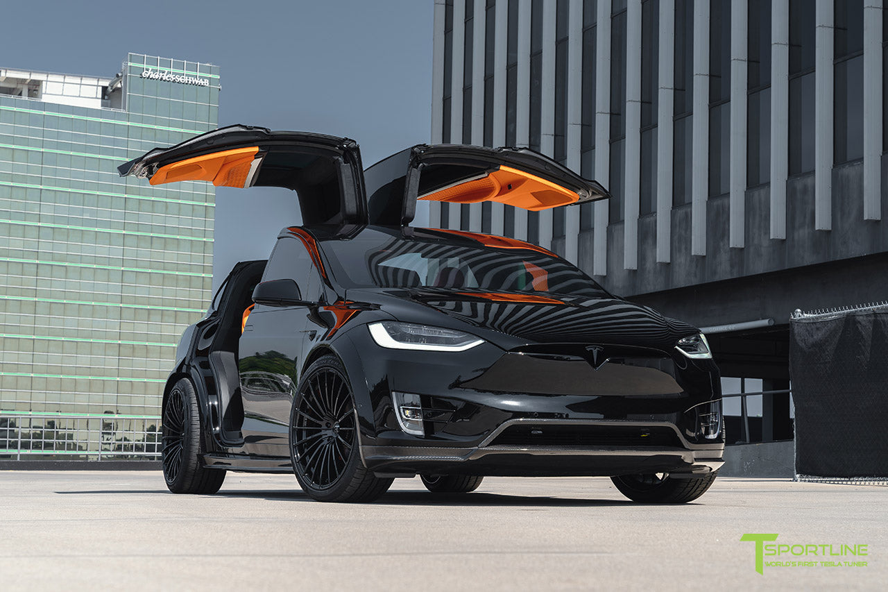 Black Tesla Model X - T Largo Carbon Fiber Wide Body Package