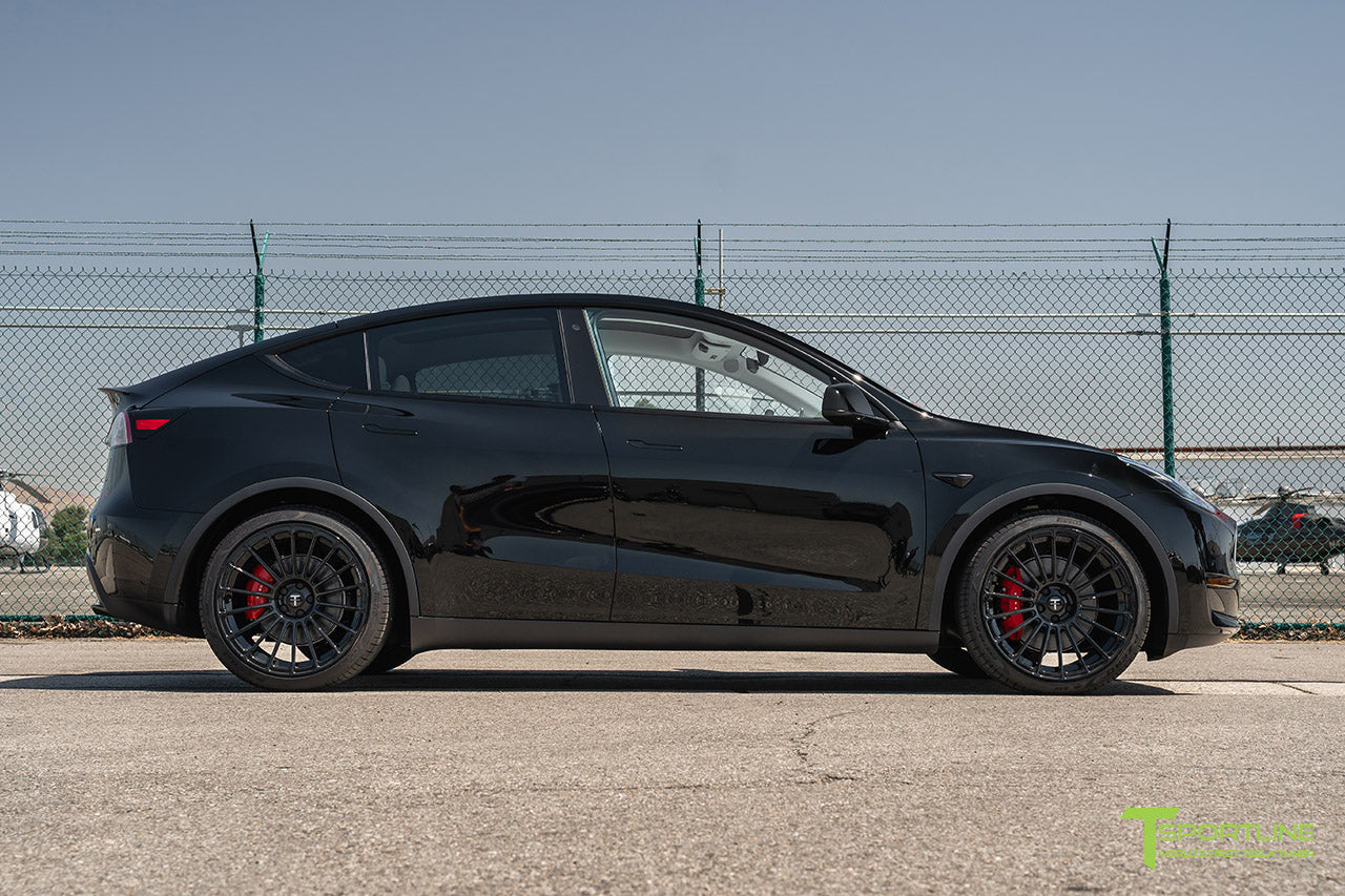 Black Tesla Model Y with 21 inch TY118 Forged Wheels in Gloss Black by T Sportline