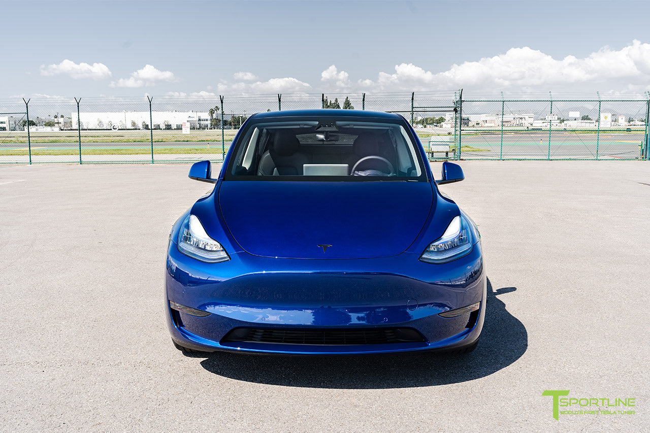 Deep Blue Metallic Tesla Model Y with Satin Black Chrome Delete by T Sportline