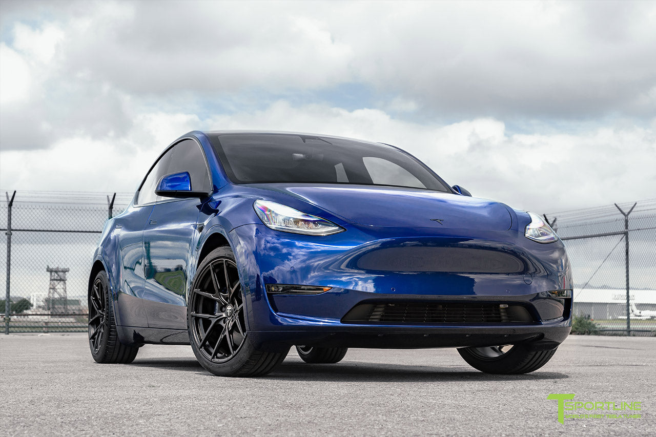 Deep Blue Metallic Tesla Model Y with 20 inch Falcon Flow Forged Aftermarket Wheels