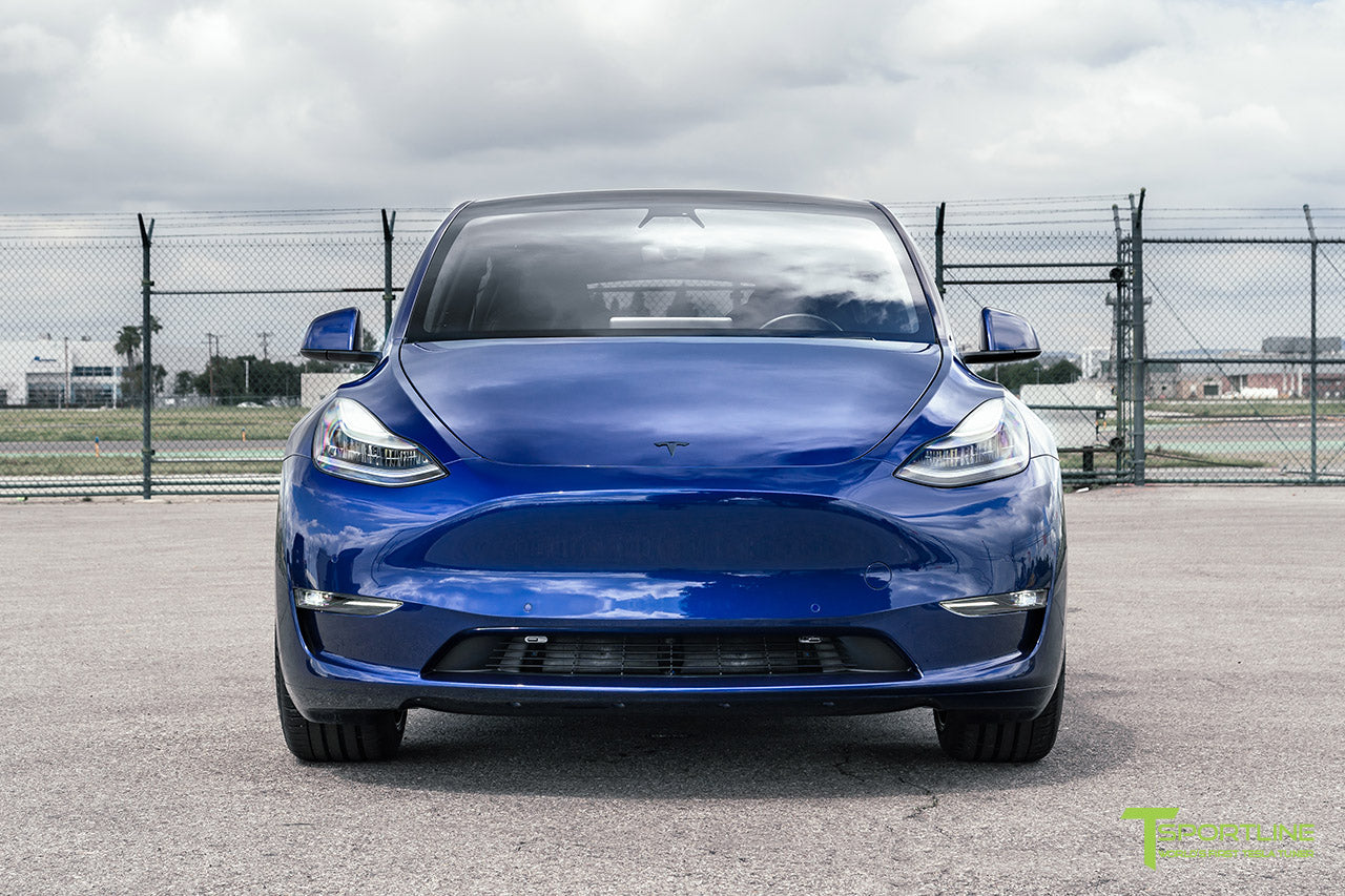 Deep Blue Metallic Tesla Model Y with Painted Plastic Trim and Rocker Panel by T Sportline