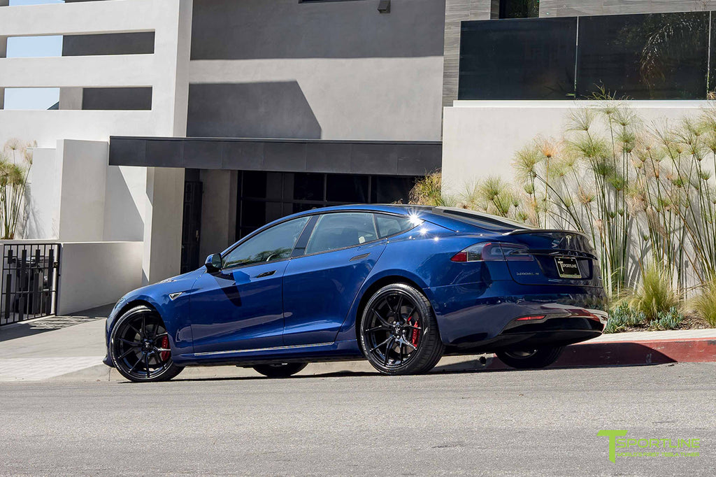 Deep Blue Metallic Model S with 3M Gloss Black Chrome Delete