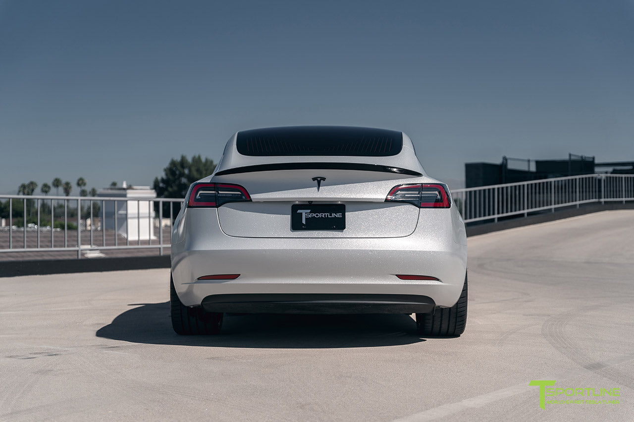 Diamond Silver Tesla Model 3 with Gloss Carbon Fiber Trunk Wing by T Sportline