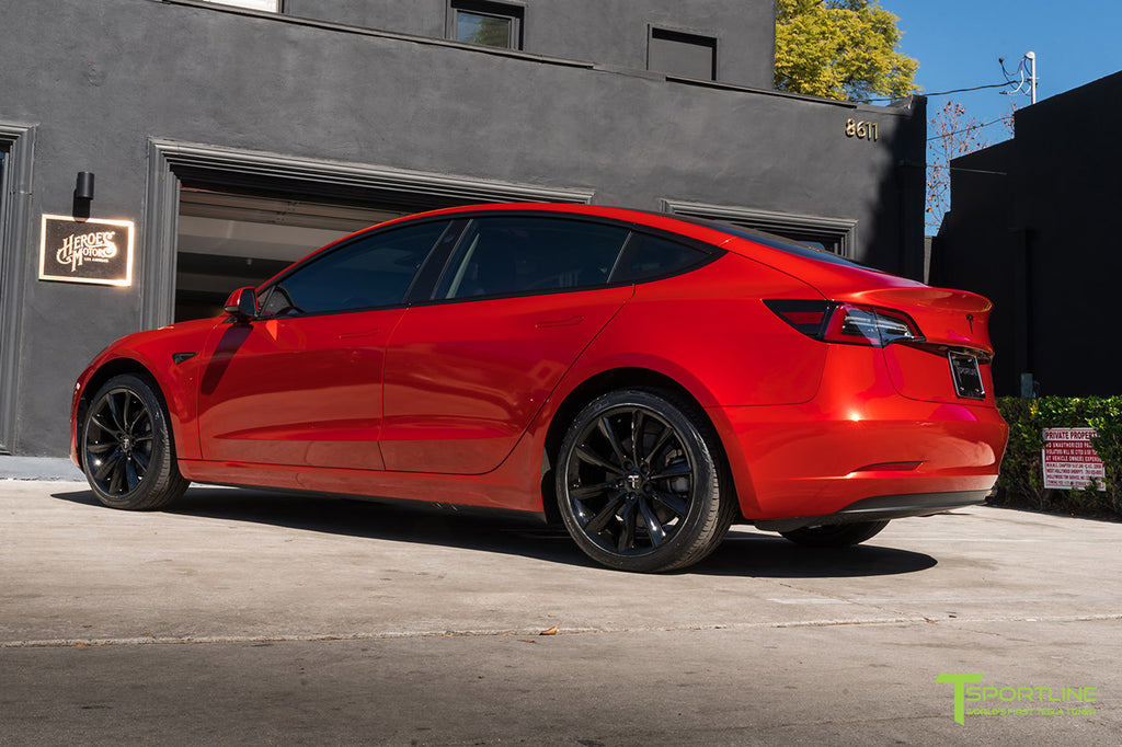 "Fire Dragon Red Tesla Model 3 with 19"" TST Turbine Style Wheels in Gloss Black"
