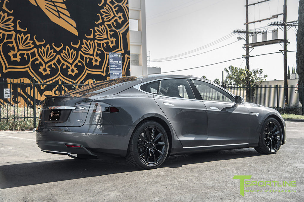 Midnight Silver Metallic Tesla Model S 19 Inch Gloss Black TST Wheels