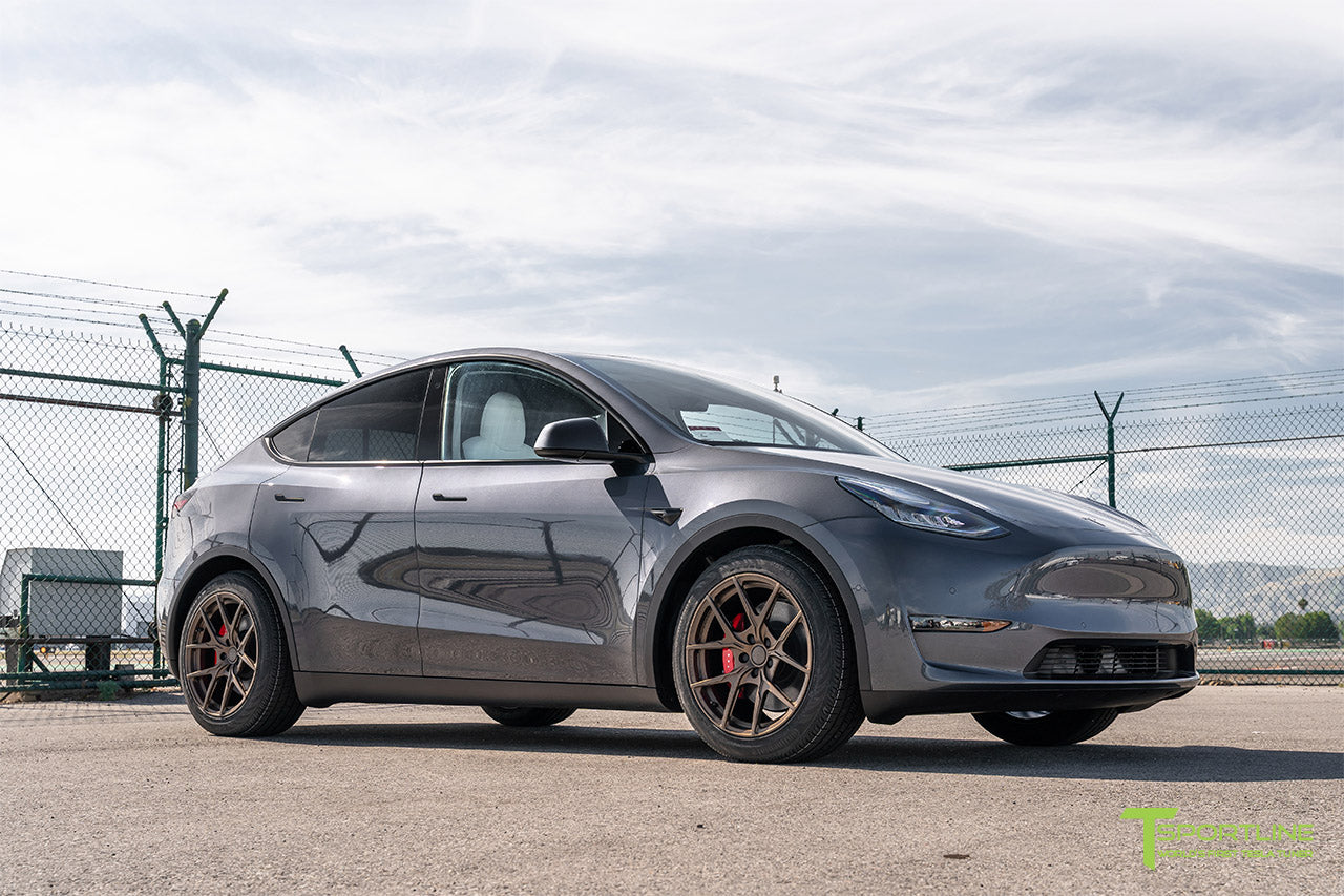 Midnight Silver Metallic Tesla Model Y with 19 inch Falcon Y Flow Forged Wheels in Jupiter Bronze by T Sportline