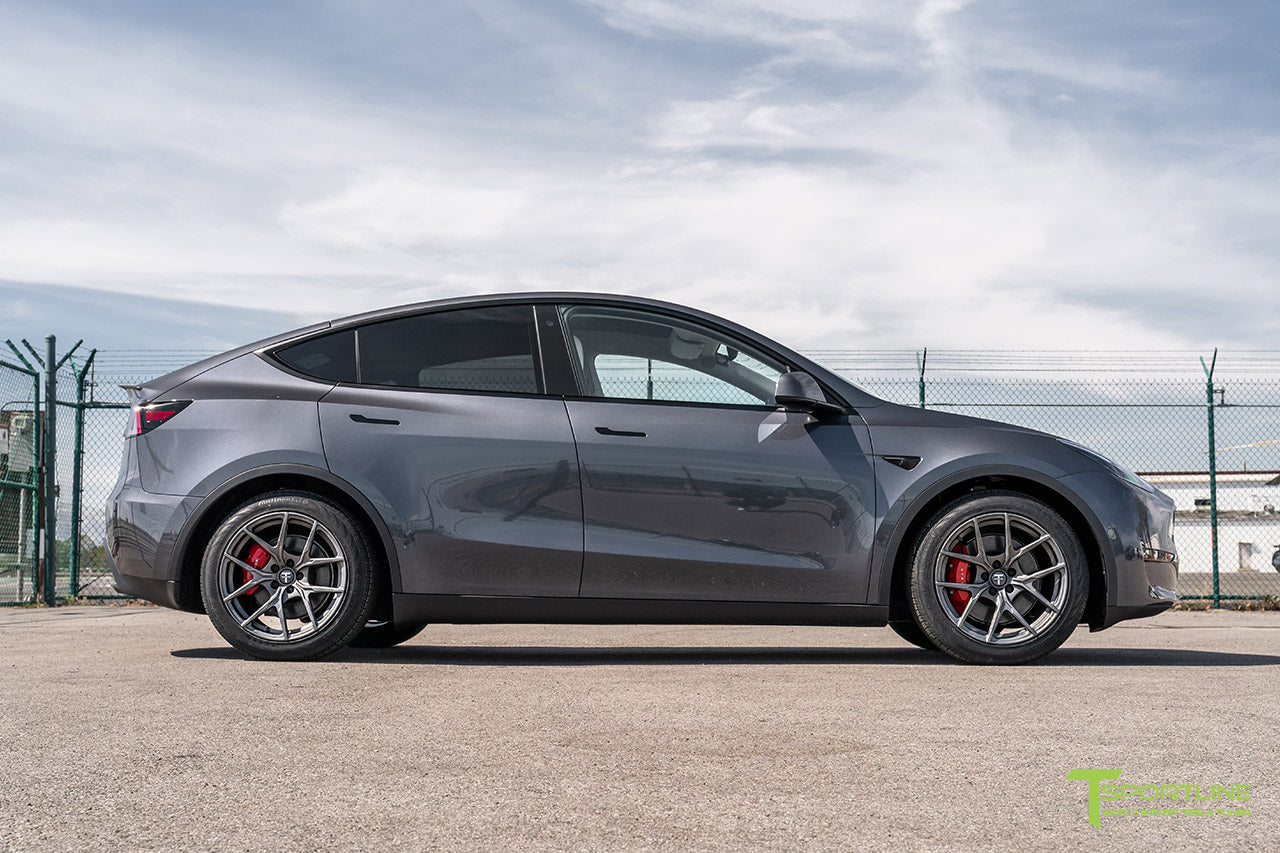 Midnight Silver Metallic Tesla Model Y with 19 inch Falcon Y Flow Forged Wheels in Moonrock Gray by T Sportline