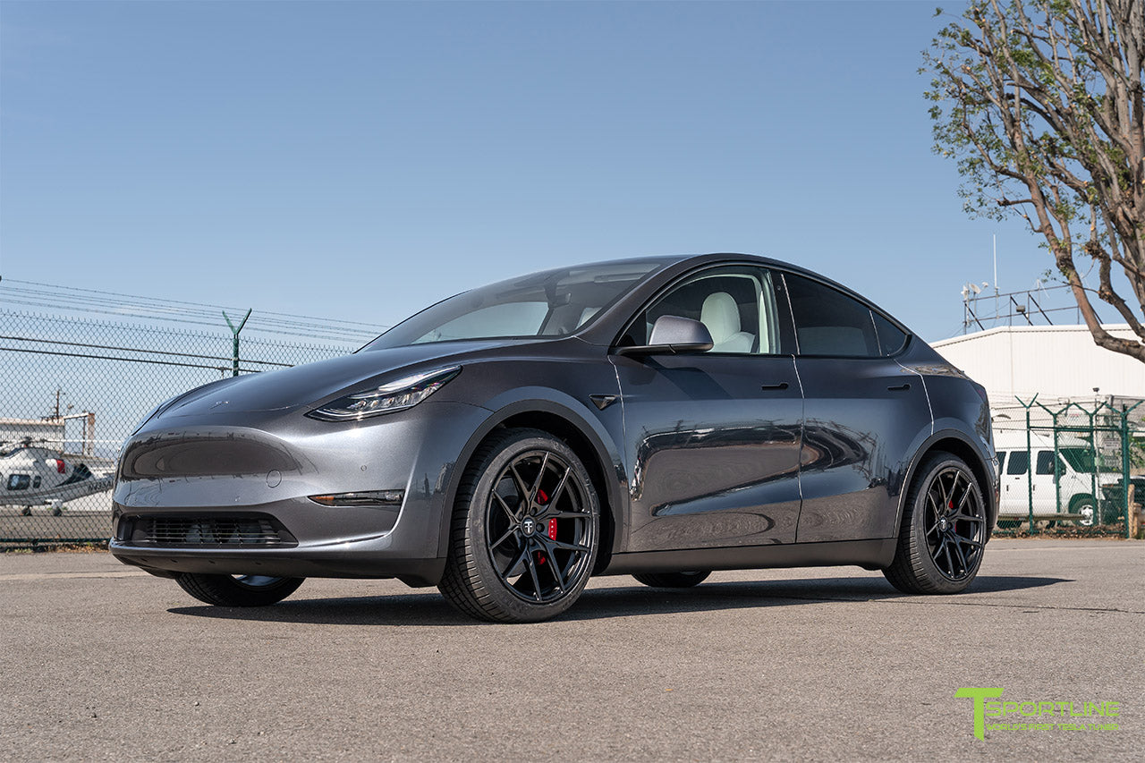 Midnight Silver Metallic Tesla Model Y with 20 inch Falcon Y Flow Forged Wheels in Ecliptic Black by T Sportline