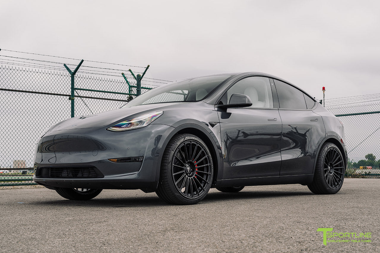 Midnight Silver Metallic Tesla Model Y with 21 inch TY118 Forged Wheels in Matte Black by T Sportline