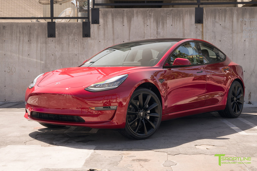 Red Multi-Coat Model 3 with 3M Satin Black Chrome Delete