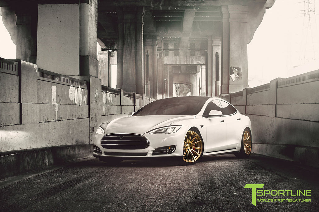 White Tesla Model S with TS112 21 inch Forged Wheels in Ghost Gold