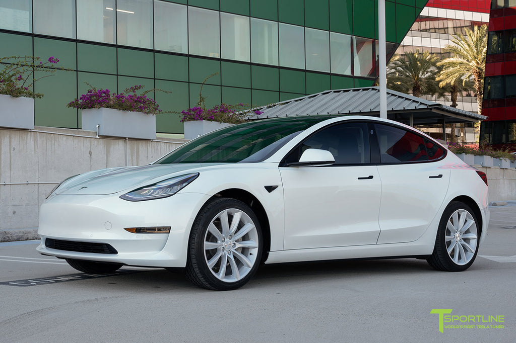 Pearl White Tesla Model 3 with 19 inch TST Turbine Wheels, Window Tint, and Chrome Delete