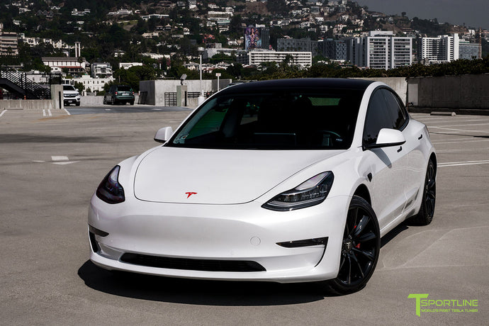 Pearl White Tesla Model 3 - Custom Red Diamond Leather Interior