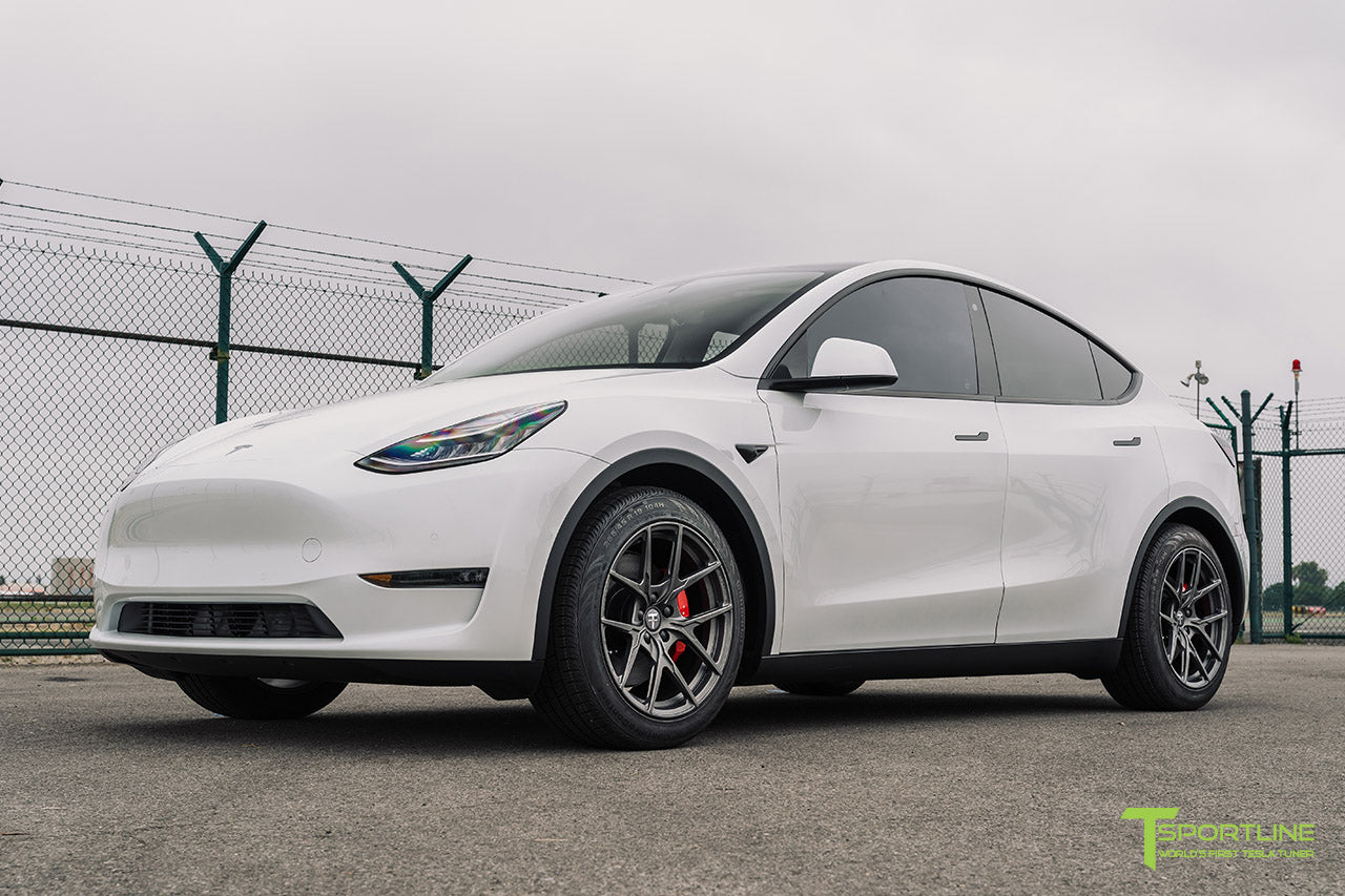 Pearl White Tesla Model Y with 19 inch Falcon Y Flow Forged Wheels in Moonrock Gray by T Sportline