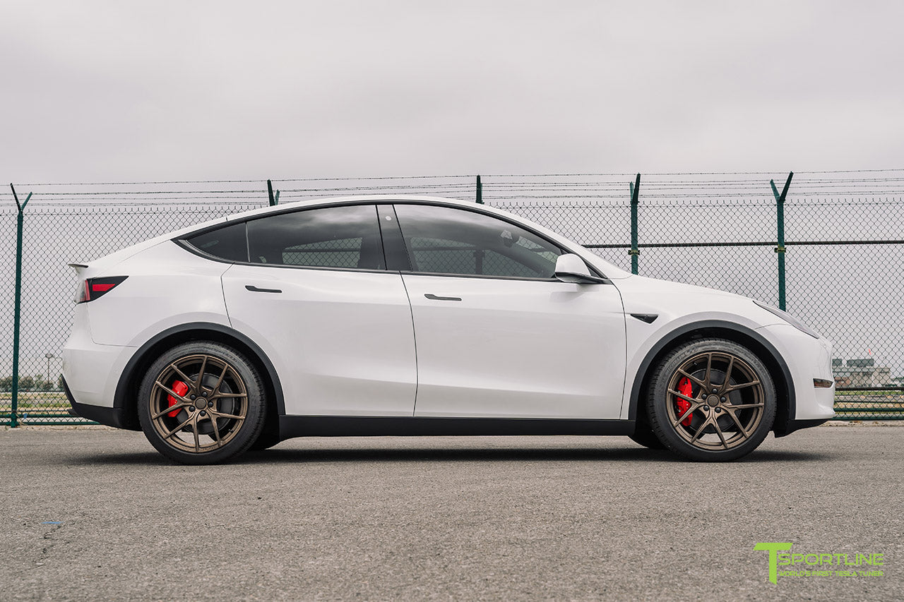 Pearl White Tesla Model Y with 20 inch Falcon Y Flow Forged Wheels in Jupiter Bronze by T Sportline