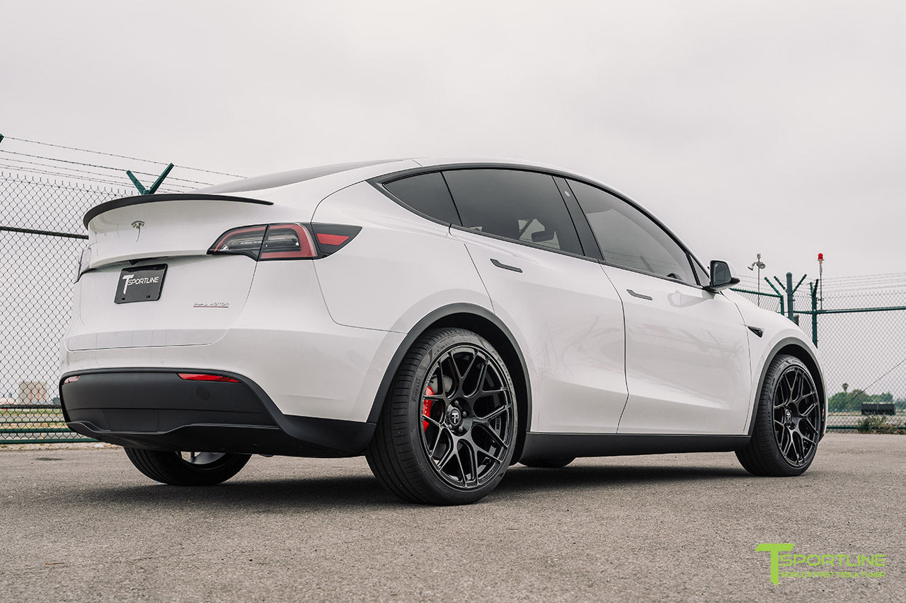 Pearl White Tesla Model Y with 21 inch TY117 Forged Wheels in Gloss Black by T Sportline