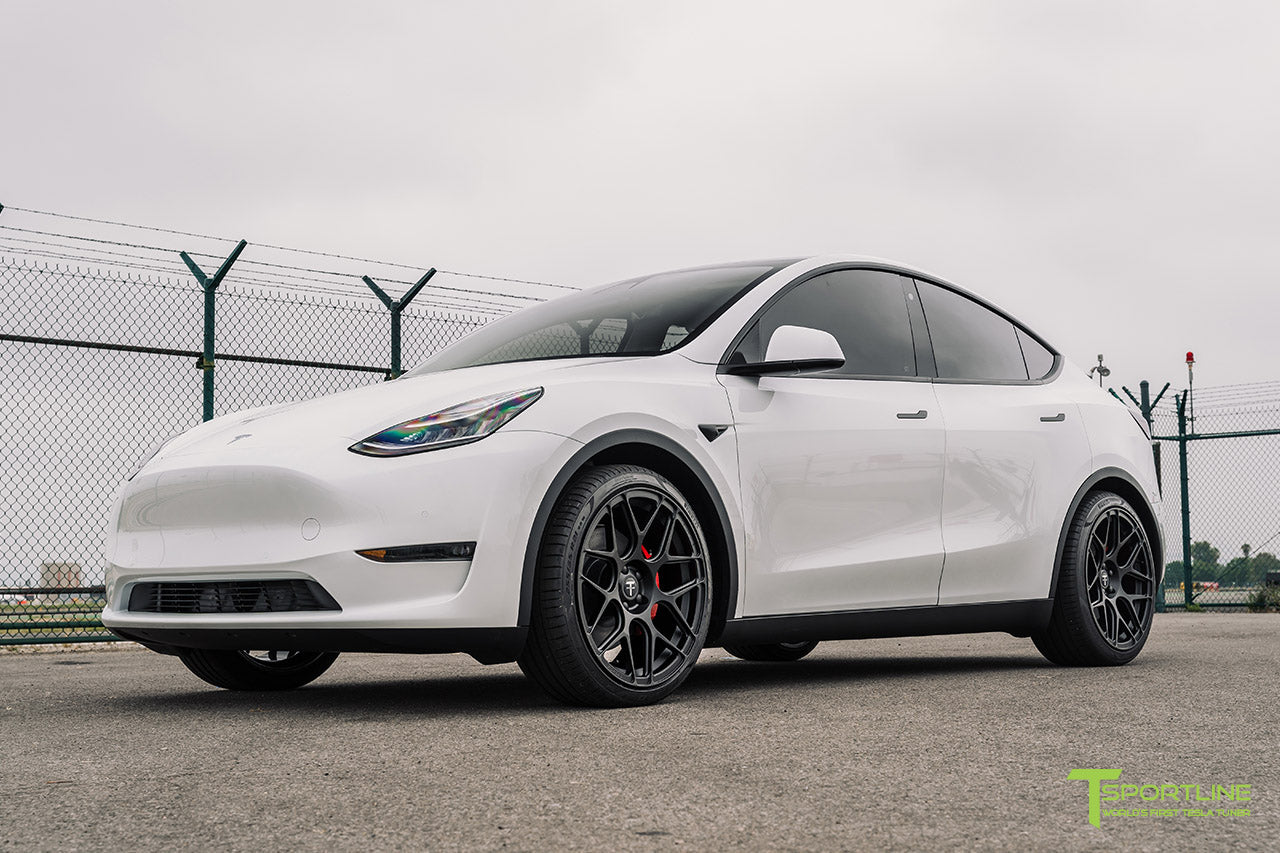 Pearl White Tesla Model Y with 21 inch TY117 Forged Wheels in Matte Black by T Sportline