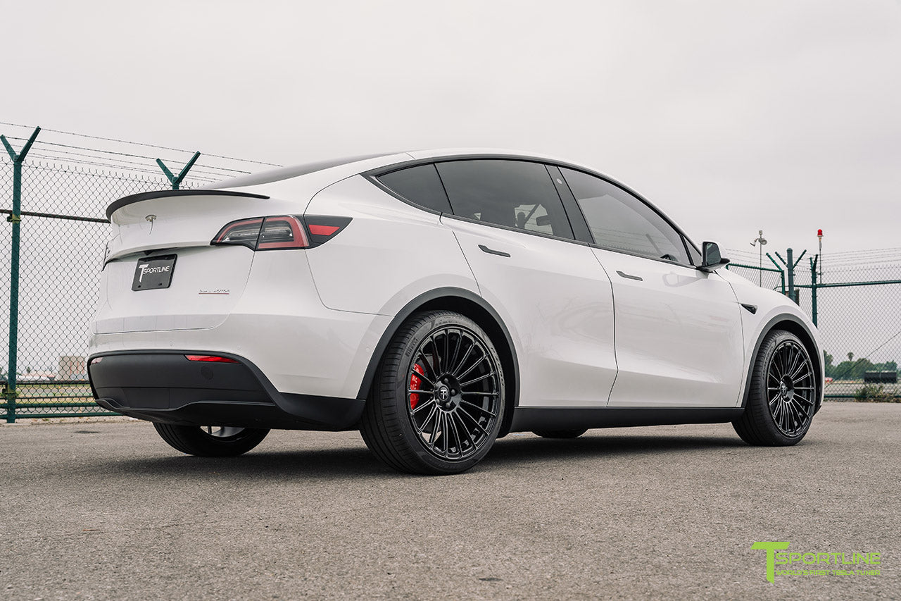 Pearl White Tesla Model Y with 21 inch TY118 Forged Wheels in Gloss Black by T Sportline