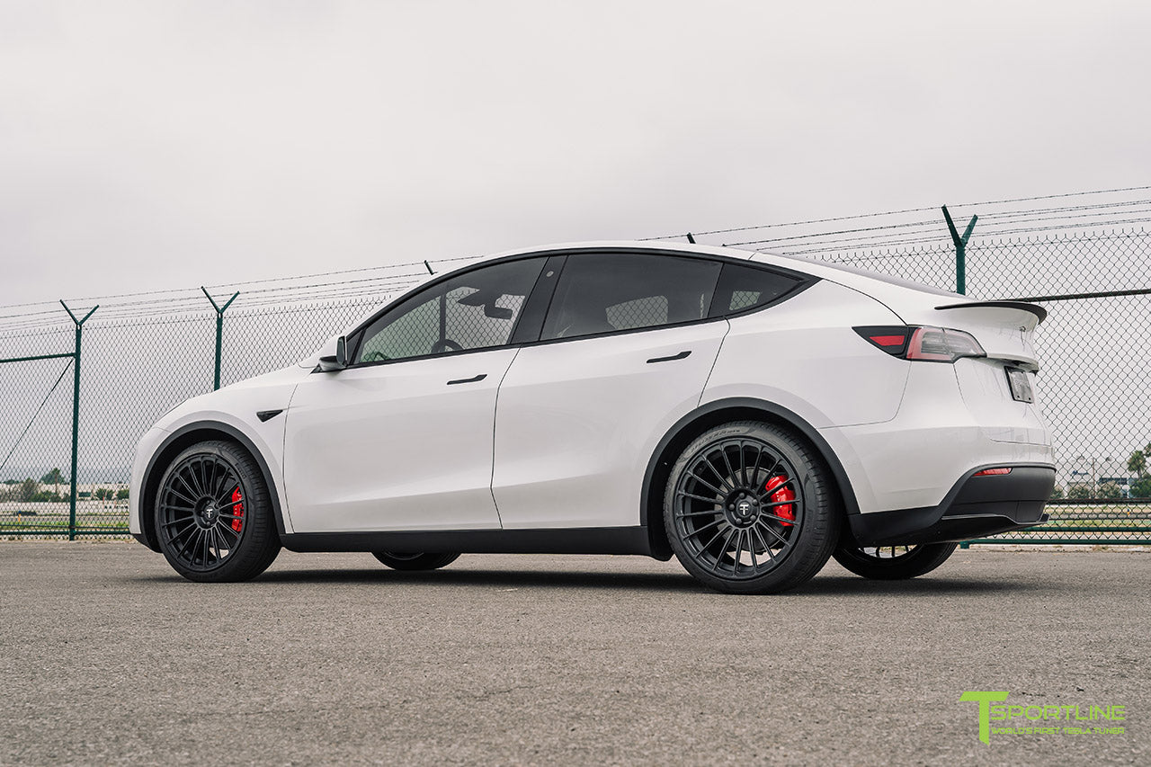 Pearl White Tesla Model Y with 21 inch TY118 Forged Wheels in Matte Black by T Sportline