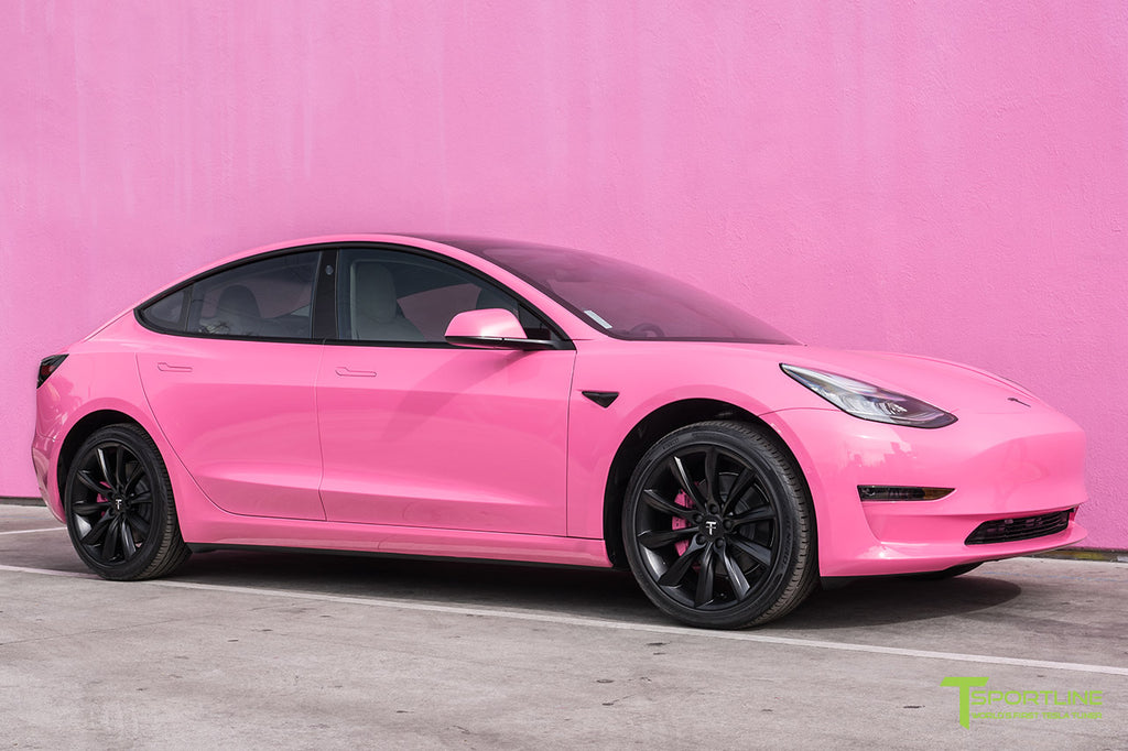Gloss Hot Pink Wrapped Tesla Model 3 with 19 inch TST in Matte Black and Chrome Delete by T Sportline
