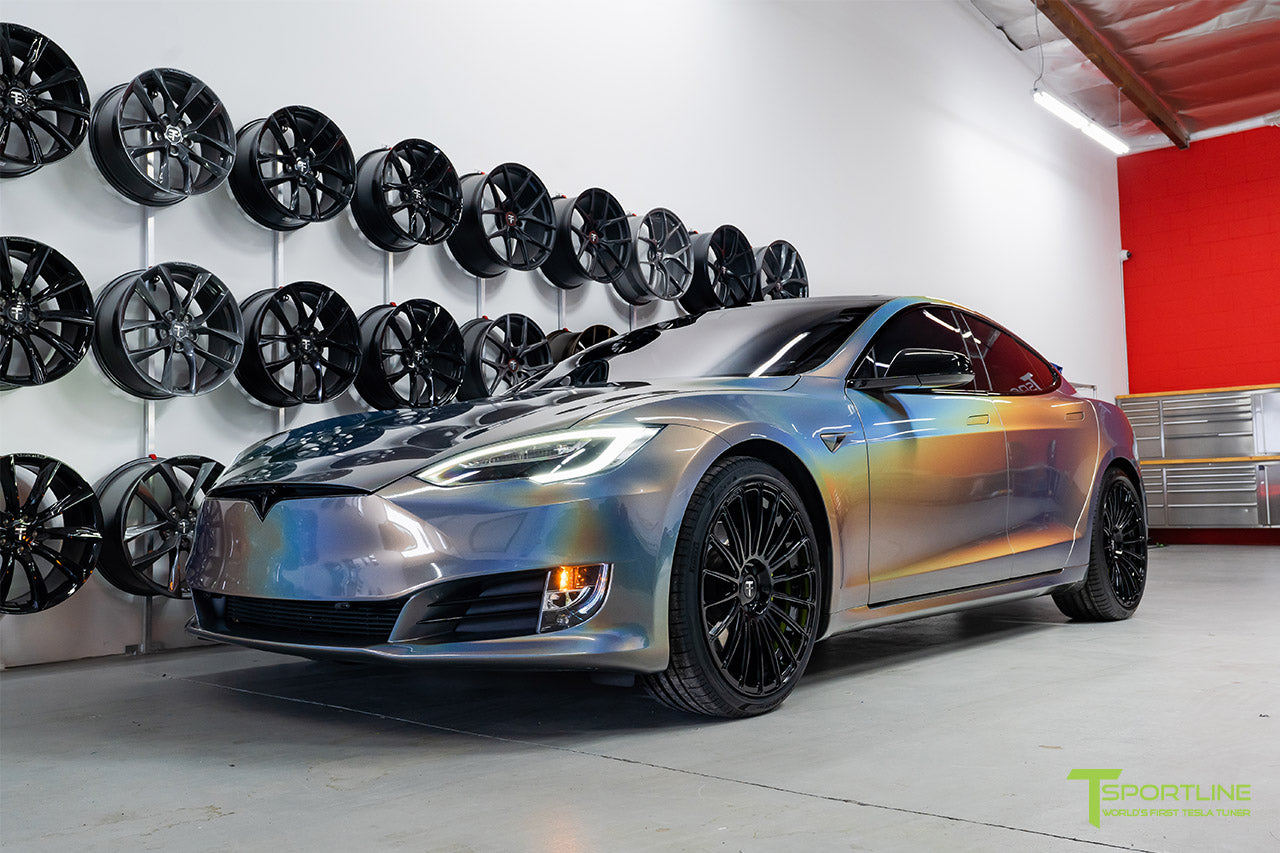 Gloss Psychedelic Flip Tesla Model S 2.0 with 21 inch TS118 Forged Wheels in Gloss Black by T Sportline