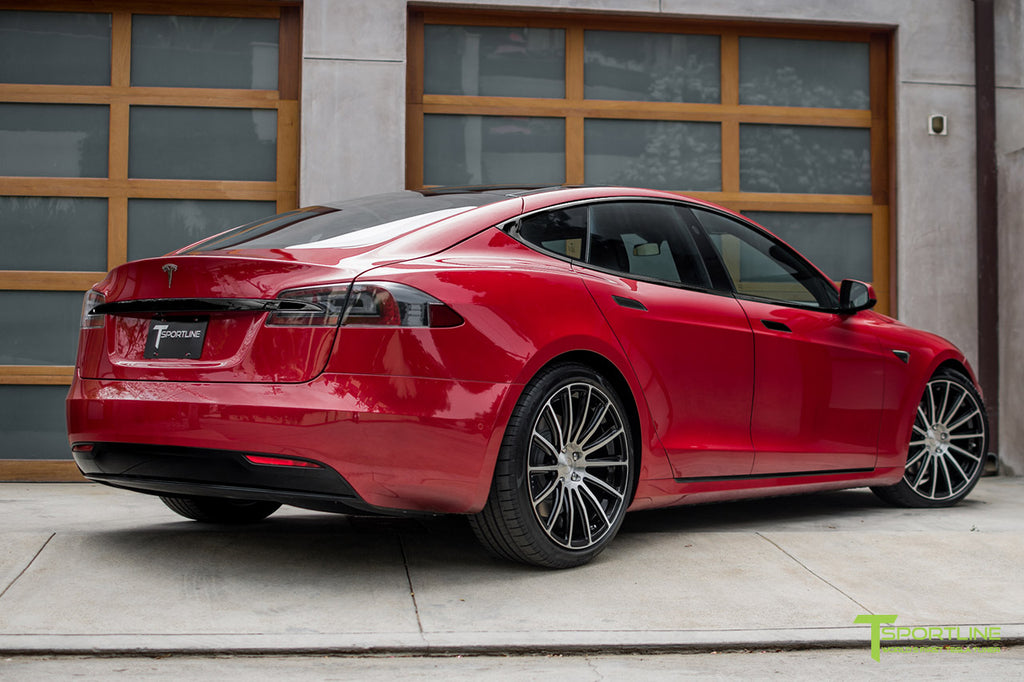 Red Multi-Coat Model S with 3M Gloss Black Chrome Delete