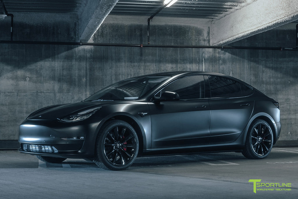 Tesla Model 3 with Satin Matte Black Wrap, Chrome Delete, 19 inch TST Turbine Wheels, and Custom Brake Caliper Color