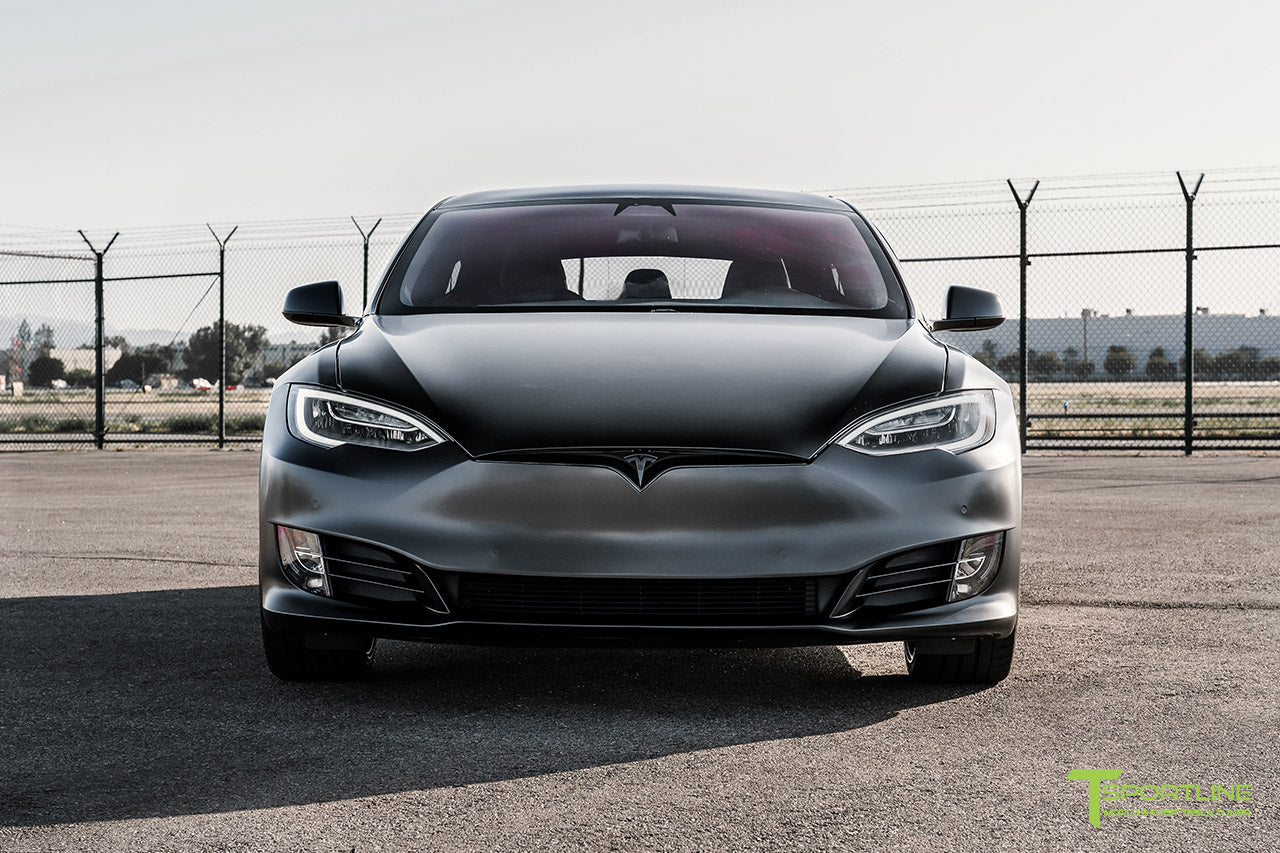Satin Black Tesla Model S Performance with Gloss Black 21 inch TS117 Forged Tesla Aftermarket Wheels and Gloss Black Chrome Delete by T Sportline