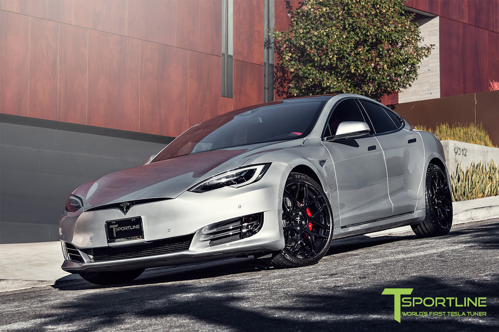 Silver Tesla Model S P90D with Gloss Black TS117 21 Inch Forged Wheels