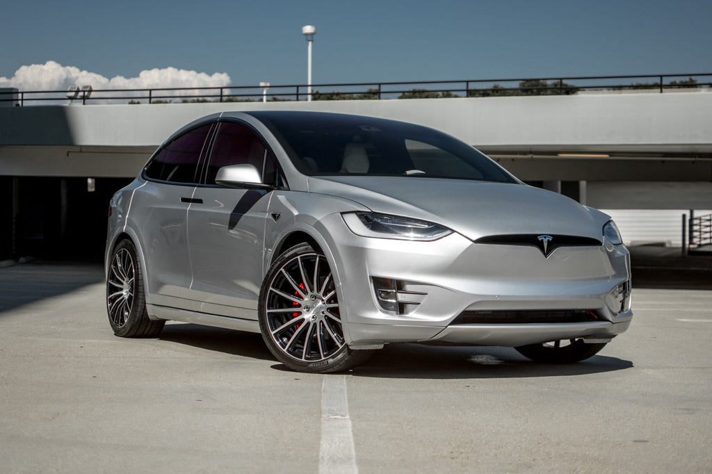 Silver Model X with Painted Plastic Panels, and Forged Wheels