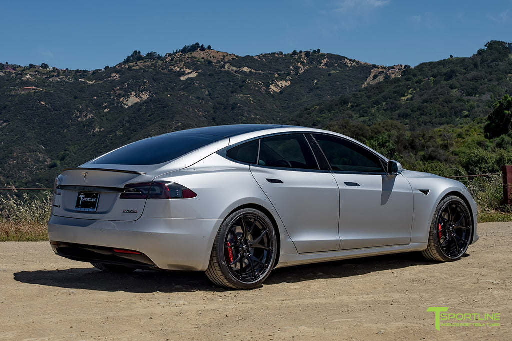 Silver Model S with 3M Gloss Black Chrome Delete