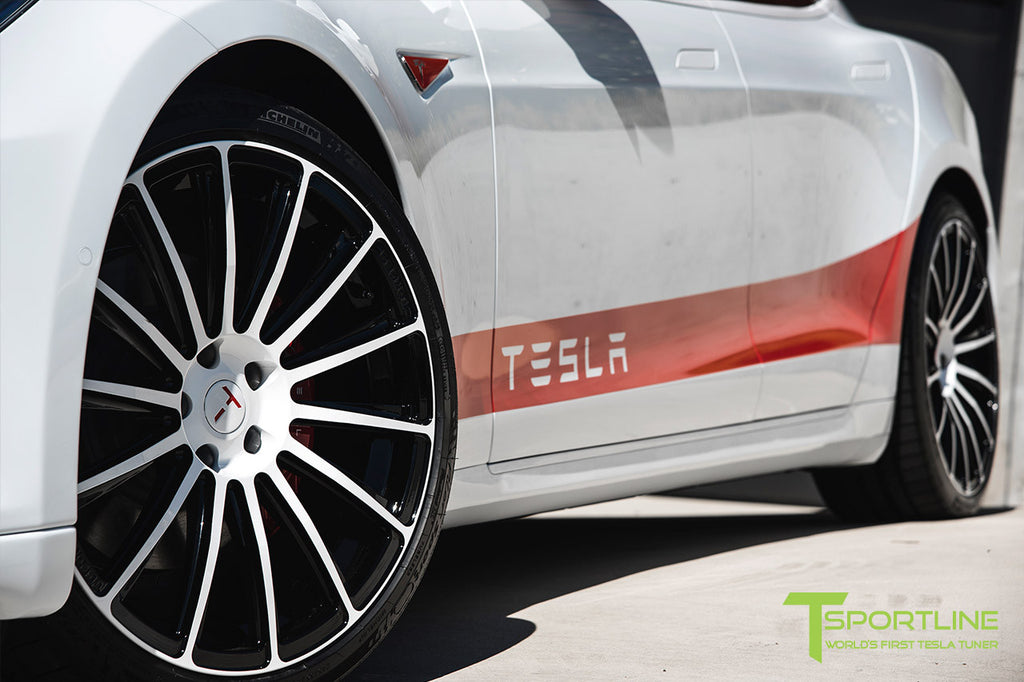 White Model S with Custom TS114 Forged Wheels 21 Inch