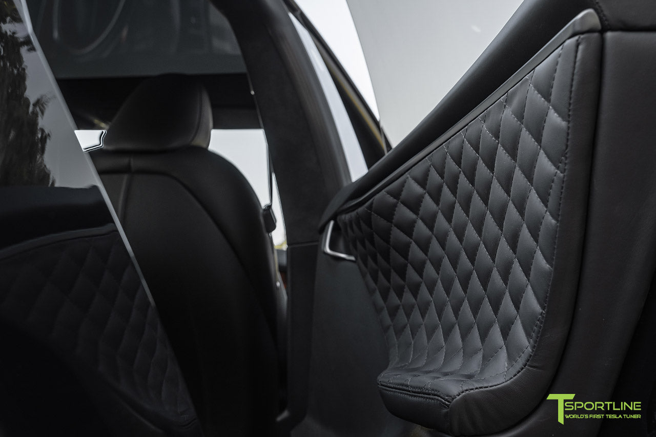 Tesla Model S Custom Ferrari Black Interior with Diamond Quilting
