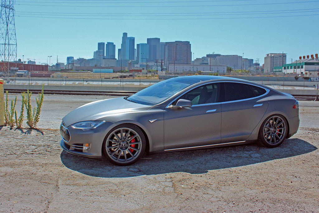 Matte Grey Tesla Model S with TS112 21 Inch Forged Wheels