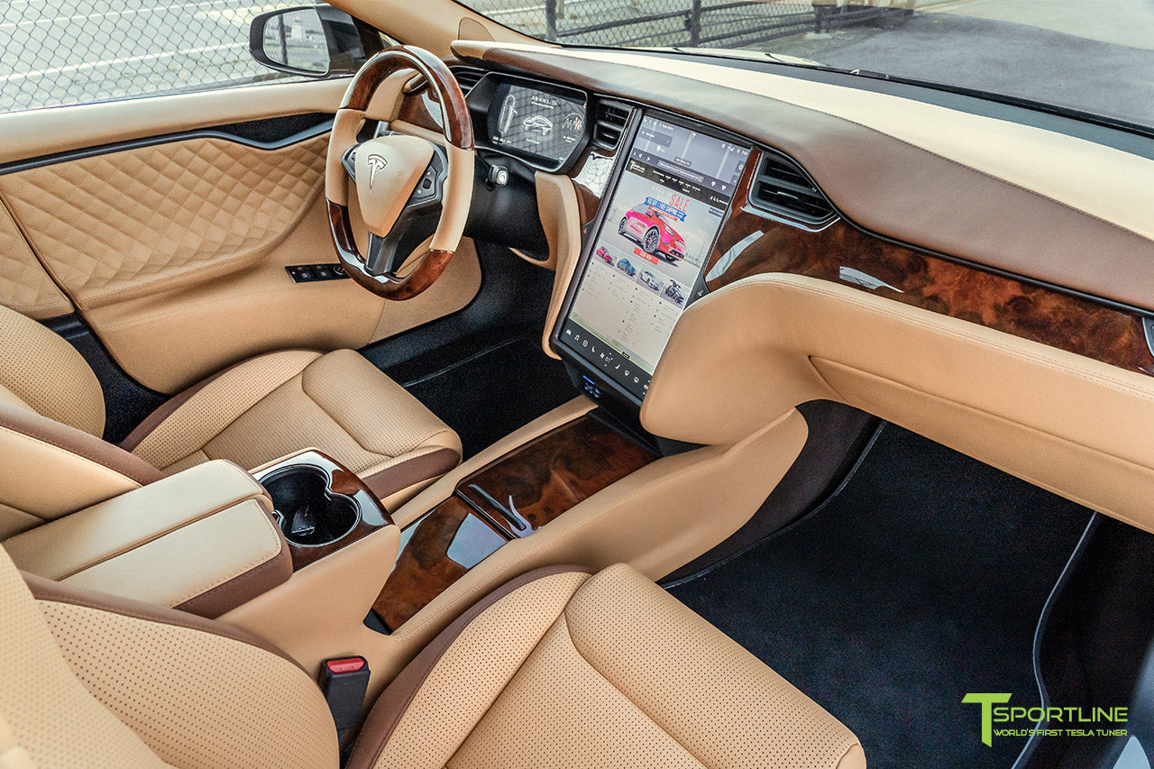 Tesla Model S Custom Ferrari Saddle and Bentley Saddle Interior with Gloss Burl Wood Steering Wheel and Trim by T Sportline