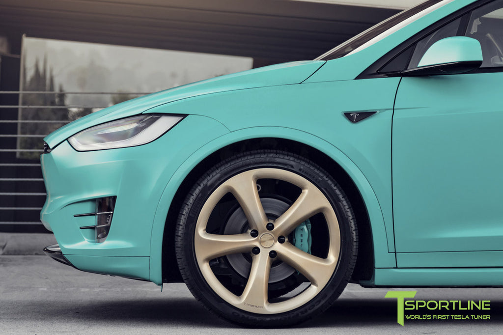 Tesla Model X with Painted Blue Calipers on 22 inch Forged Wheels MX5