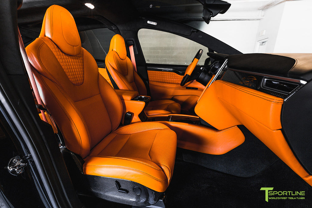 Black Model X T Largo 7 with Lamborghini Orange Custom Leather Bespoke Interior