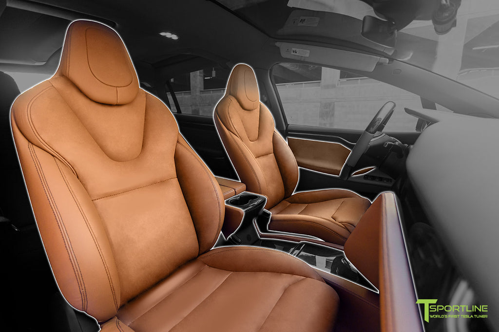 Tesla Model X Custom Leather Interior Reupholstery by T Sportline