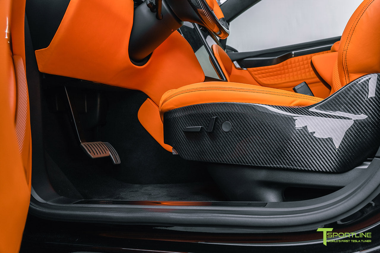 Tesla Model X Custom Lamborghini Orange Leather Interior with Gloss Carbon Fiber Seat Sides by T Sportline