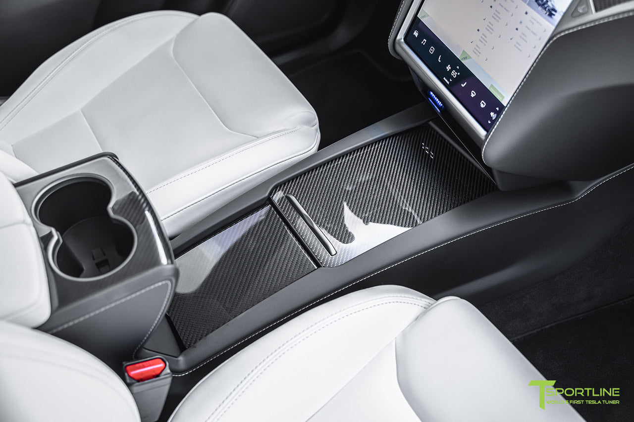 Tesla Model X with White Interior and Gloss Carbon Fiber Trim by T Sportline