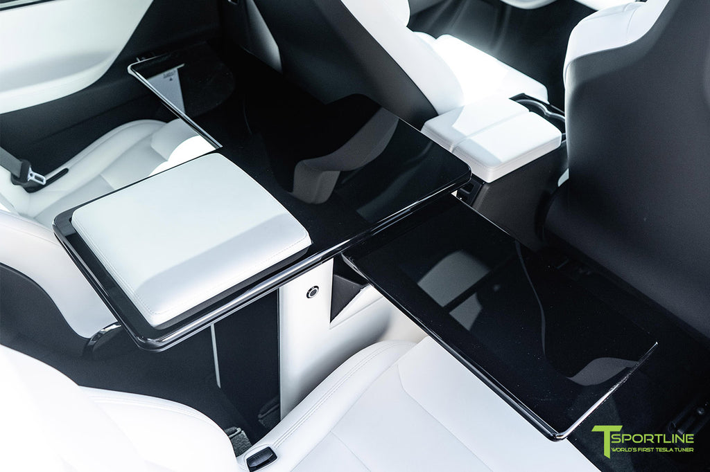 Tesla Model X Ultra White Bespoke Interior with Fold Out Work Table VIP Executive Desk