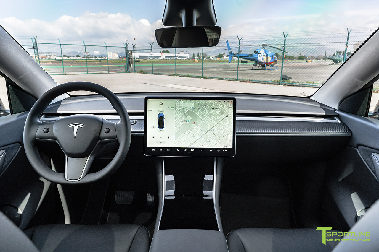 Tesla Model Y with Matte Carbon Fiber Dash Panel Interior Accessory by T Sportline