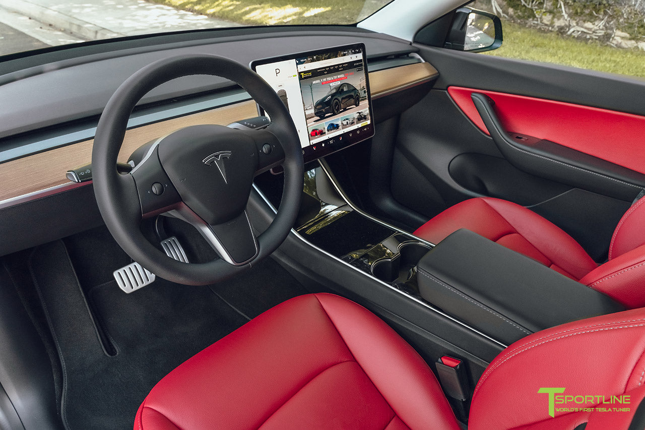 Tesla Model Y Reupholstered Custom Red Leather Interior by T Sportline