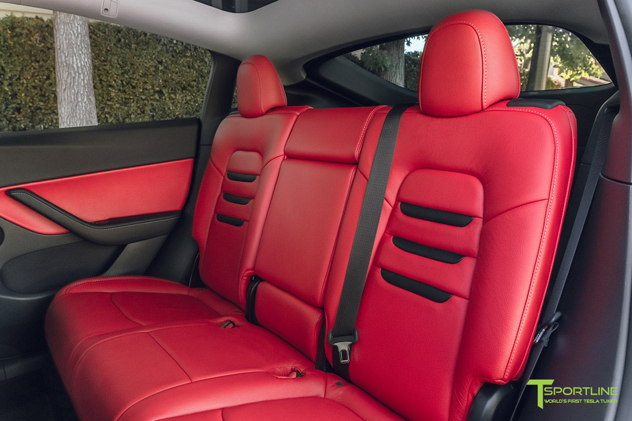Tesla Model Y Reupholstered Custom Red Leather Interior with Black Suede Insignia by T Sportline